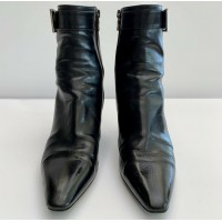 PRADA BLACK LEATHER ANKLE BOOT SHOES WITH ZIPPER & SILVER BUCKLE, SIZE 37, $995