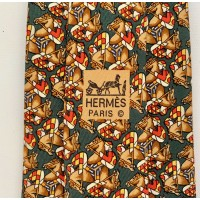AUTHENTIC HERMES SILK MENS NECK TIE JOCKEY HORSE WHIMSICAL GREEN RED BROWN GOLD