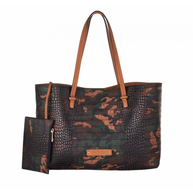 DE-VESI SHOULDER TOTE HAND BAG KHAKI GREEN CAMOUFLAGE VEGAN CROCODILE LEATHER