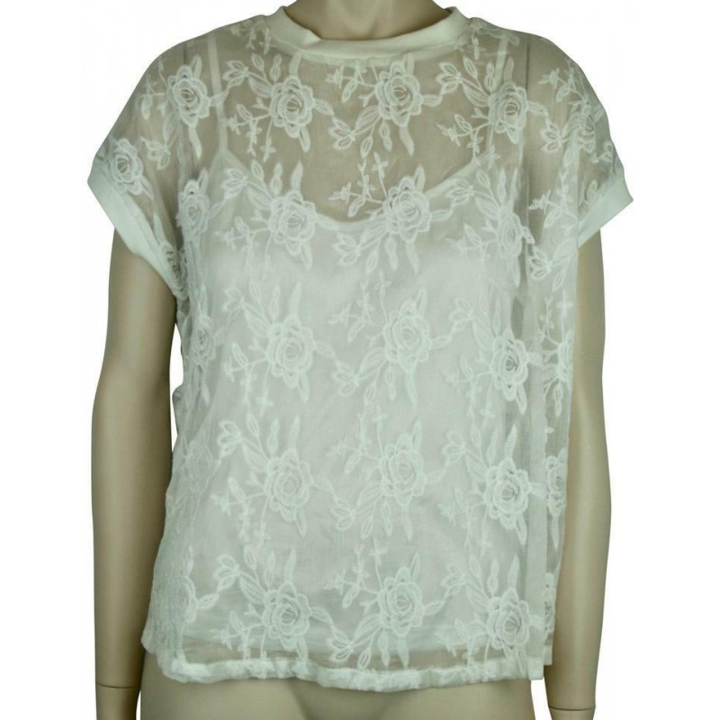 KERSH WHITE FLORAL LACE BLOUSE TOP WITH CAP SLEEVES, SIZE SMALL PETITE