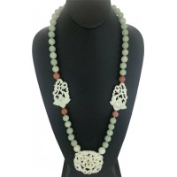 GREEN, RED & WHITE JADE POLISHED 15 MM BEAD NECKLACE WITH ASIAN FLOWER CARVINGS