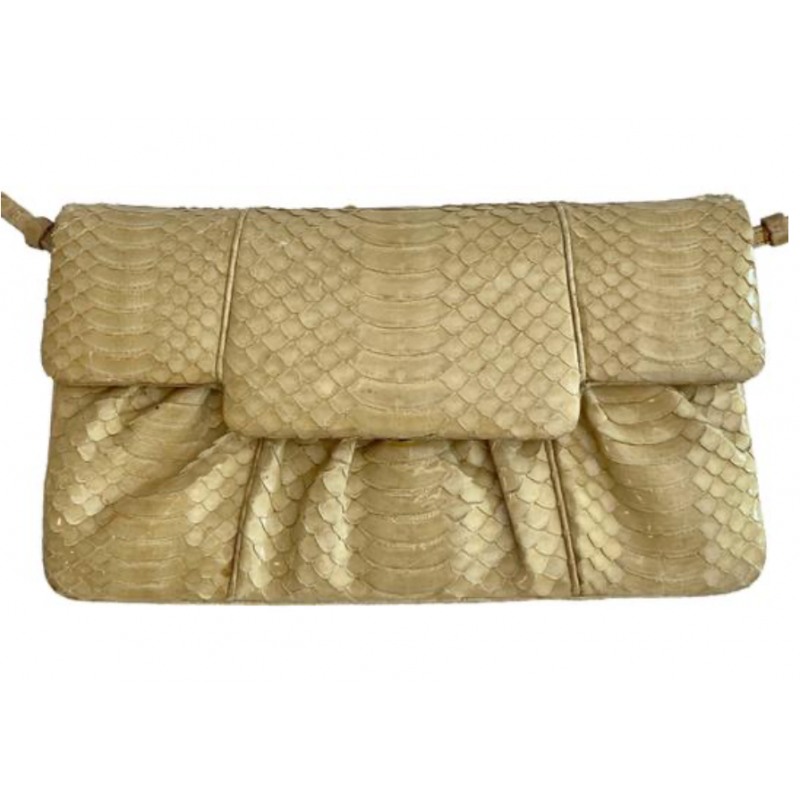 JUDITH LEIBER CREAM GOLD IVORY SNAKESKIN HANDBAG CLUTCH, REMOVABLE STRAP, SMALL