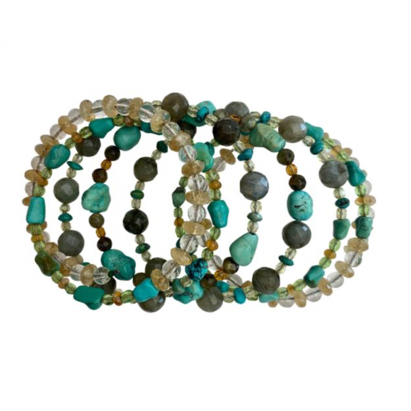 GREENBREADS TURQUOISE, CITRINE, QUARTZ WRAP BRACELET ON COILED WIRE, 7 WRAPS