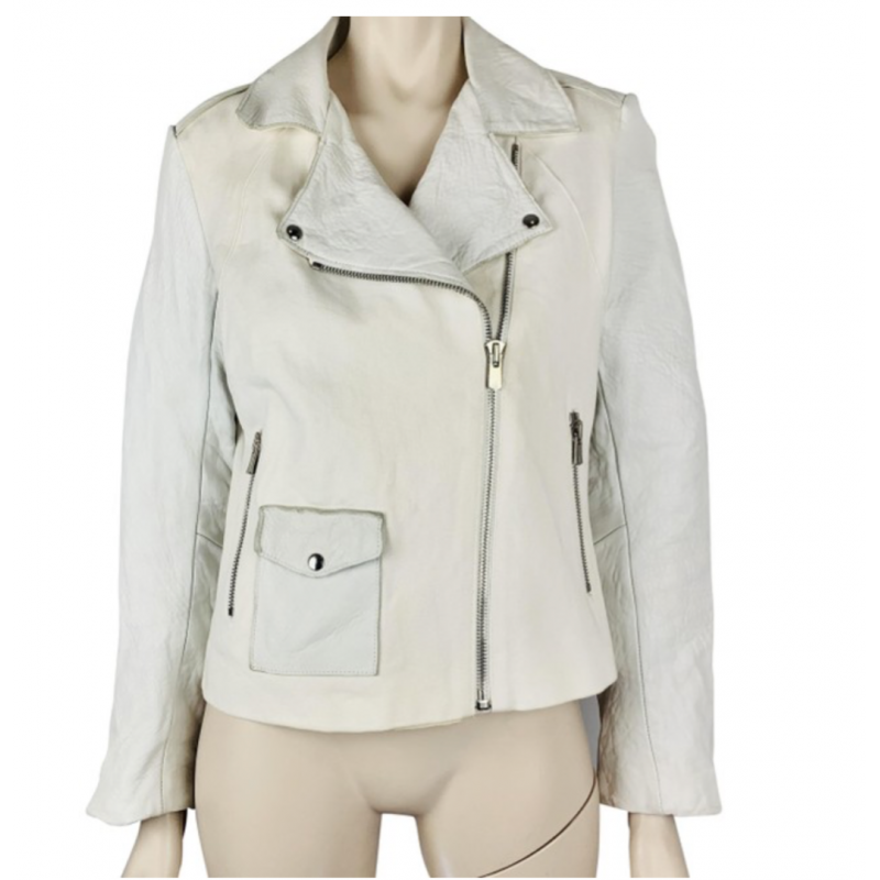 SANDO WHITE LEATHER AND COTTON CANVAS TWILL FABRIC JACKET, SILVER ZIPPERS  EU 40